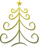 Abstract Christmas Tree. Illustration of an abstract christmas tree decorated with star; isolated (For variations of the abstract tree design, please visit my stock illustration