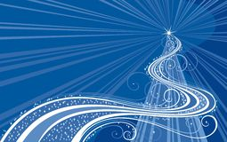 Abstract Christmas tree. Christmas tree on a blue background Royalty Free Stock Photos