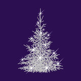 Abstract Christmas tree. On blue background Stock Photography