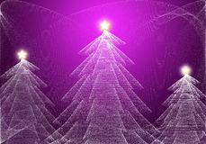 Abstract christmas tree. With shining star on purple background Royalty Free Stock Photo