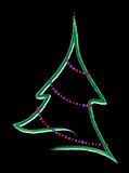Abstract Christmas tree. With beaded garland on a black background Stock Photos