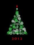 Abstract christmas tree. Abstract green christmas tree on black Royalty Free Stock Photos