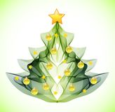 Abstract Christmas tree. Abstract green Christmas tree with toys Royalty Free Stock Photo