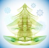 Abstract Christmas tree. Abstract green Christmas tree with snowflakes Stock Photo