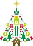 Abstract Christmas tree. This is a drawn of an abstract Christmas tree made of different objects Stock Photos