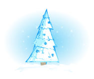 Abstract Christmas Tree. Angular Christmas Tree seen with matching snow flakes and snowy landscape royalty free illustration