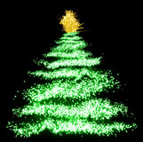 Abstract Christmas tree. On black stock illustration