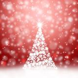 Abstract Christmas tree background. Bright soft red background illustration with snowflake Christmas tree Stock Illustration