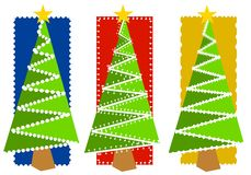 Abstract Christmas Tree Backgrounds 2. An illustration of your choice of 3 Christmas tree backgrounds in red, blue and yellow with green and white decorative Royalty Free Stock Photo