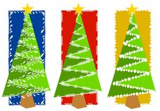 Abstract Christmas Tree Backgrounds. An illustration of your choice of 3 Christmas tree backgrounds in red, blue and yellow with green and white decorative Royalty Free Stock Photography