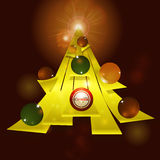 Abstract Christmas tree and baubles background Stock Image