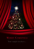 Abstract christmas tree behind the curtain Stock Photo