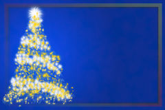 Abstract Christmas tree on blue background. Christmas business card Stock Photos