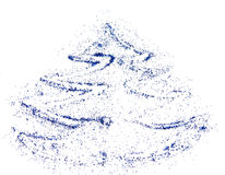 Abstract Christmas tree of blue glitter, festive background Stock Photo
