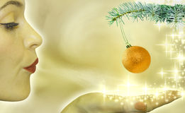Abstract of christmas tree and buble stock illustration