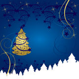 Abstract christmas tree card. Abstract gold christmas tree card Stock Images