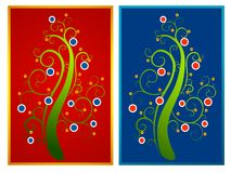 Abstract Christmas Tree Cards. A clip art illustration featuring your choice of 2 abstract Christmas tree cards in red, blue and green colors Stock Image