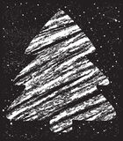 Abstract christmas tree chalk drawing Royalty Free Stock Photos