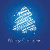 Abstract Christmas Tree Chalk Drawing Royalty Free Stock Photos