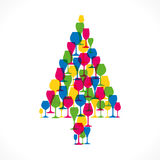 Abstract Christmas tree. Colorful Christmas tree design with wine glass in white background Royalty Free Stock Images