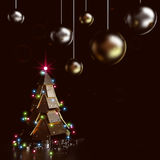 Abstract Christmas Tree, 3D. Abstract Christmas Tree on dark background, 3D rendering image Royalty Free Stock Image