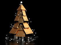 Abstract Christmas Tree, 3D. Abstract Christmas Tree on dark background, 3D rendering image Royalty Free Stock Photos