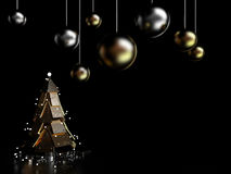 Abstract Christmas Tree, 3D. Abstract Christmas Tree on dark background, 3D rendering image Stock Photography