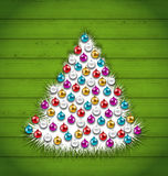 Abstract Christmas Tree Decorated Colorful Balls. Illustration Abstract Christmas Tree Decorated Colorful Balls on Green Wooden Background - Vector Stock Photography