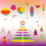 Abstract Christmas Tree with Decoration Balls toys. Cartoon Background symbol of New Year Holiday vector vector illustration