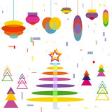 Abstract Christmas Tree with Decoration Balls toys. Cartoon Background symbol of New Year Holiday vector stock illustration