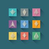 Abstract christmas tree in flat style on orange Stock Images