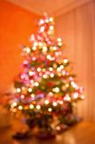 Abstract christmas tree formed by blurred lights stock images