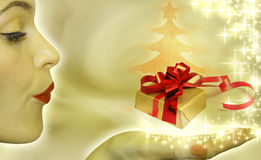 Abstract of christmas tree and gift royalty free illustration