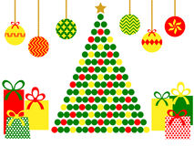 Abstract christmas tree with gifts. Vector illustration Stock Photos