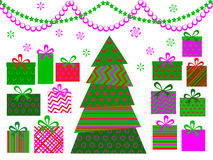 Abstract christmas tree with gifts Royalty Free Stock Images