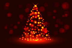 Abstract christmas tree from glowing sparkles, circular Stock Photos