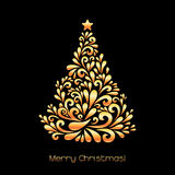 Abstract Christmas tree in gold color. Royalty Free Stock Photo