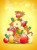 Abstract christmas tree on golden background Royalty Free Stock Images