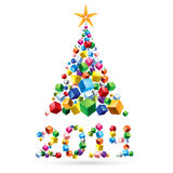 Abstract Christmas tree. Greeting card: abstract Christmas tree and 2014 made of colorful cubes Stock Photography