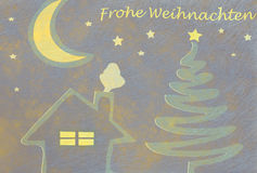Abstract christmas tree, house and moon, christmas card. Abstract christmas tree, house and moon and the german words for Merry Christmas, christmas card Stock Images