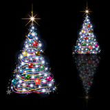 Abstract Christmas tree isolated on black Stock Images