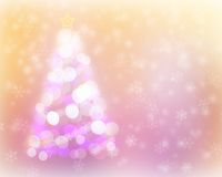 Abstract christmas tree light bokeh and snow background. Stock Image