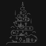 Abstract Christmas tree in line style Stock Image