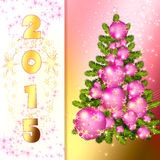Abstract Christmas Tree. Luxury Card Christmas and New Year 2015. Christmas tree made of pink balls on a golden background Stock Images