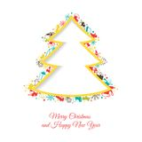 Abstract Christmas tree made of Christmas items Stock Photography