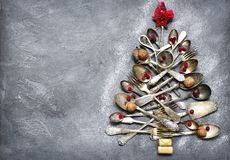 Abstract christmas tree made from cutlery.Top view with copy spa Royalty Free Stock Images