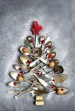 Abstract christmas tree made from cutlery.Top view with copy spa Stock Image