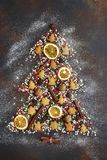 Abstract christmas tree made from festive treats and spices.Top Royalty Free Stock Photography