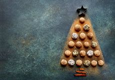 Free Abstract Christmas Tree Made From Chocolate Truffles.Top View Wi Royalty Free Stock Image - 105084696