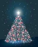 Abstract Christmas tree made of light and USA ball Stock Images